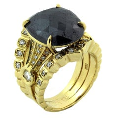 Yellow Gold and Diamond Ring with Black Diamond Center