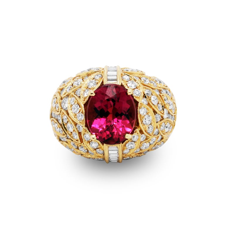Oval Cut Yellow Gold and Diamond Ring with Rubellite Tourmaline Center For Sale