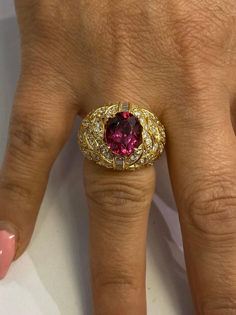 Women's Yellow Gold and Diamond Ring with Rubellite Tourmaline Center For Sale