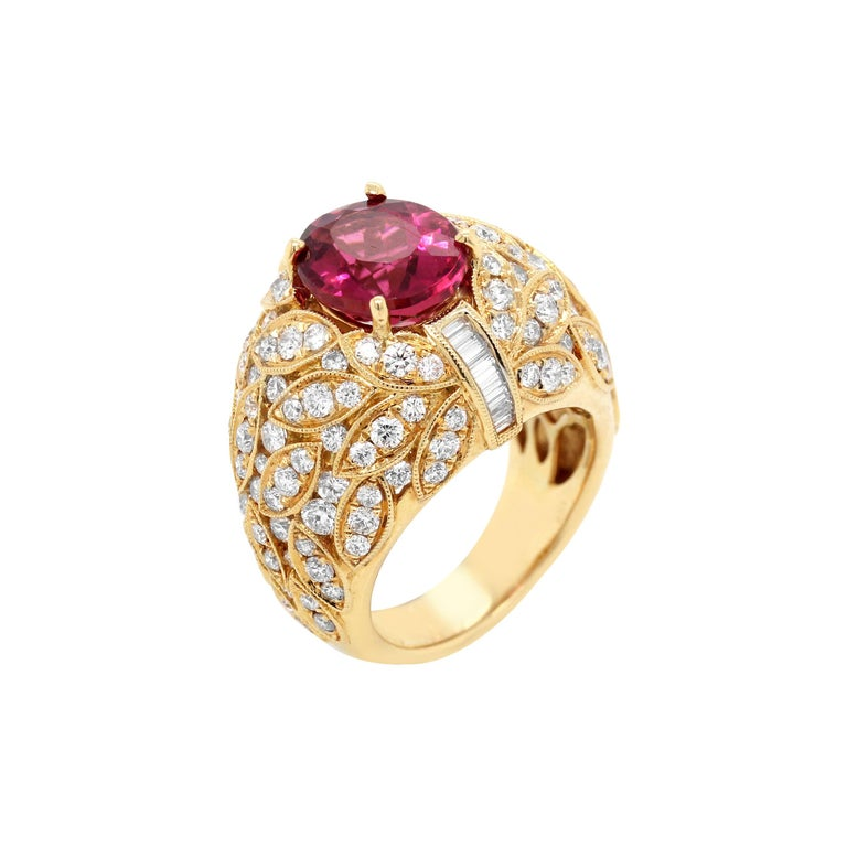 Yellow Gold and Diamond Ring with Rubellite Tourmaline Center For Sale