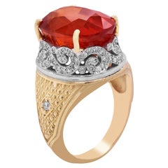 Yellow Gold and Diamond Ring with Spessartite Garnet Center
