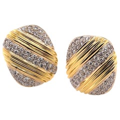 Yellow Gold and Diamond Square Earrings