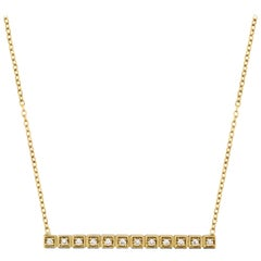 Yellow Gold and Diamond Straight Bar Pendant Necklace