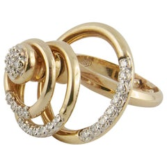 Yellow Gold and Diamond Three-Circle Spinning Ring