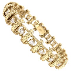 Yellow Gold and Diamond Vintage Leaf Motif Bracelet
