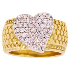 Yellow Gold and Diamond Wide Band Heart Ring Stambolian