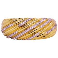 Yellow Gold and Diamond Wide Bangle Bracelet