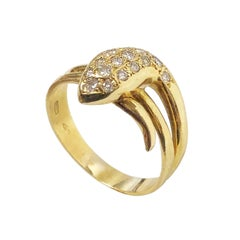 Yellow Gold and Diamonds Snake Ring
