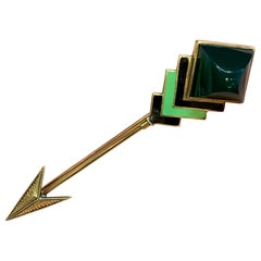 Yellow Gold and Enamel Men's Stickpin