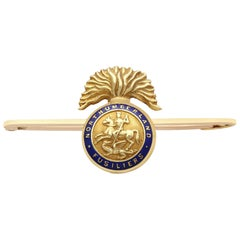 Yellow Gold and Enamel Northumberland Fusiliers Brooch Antique, circa 1900