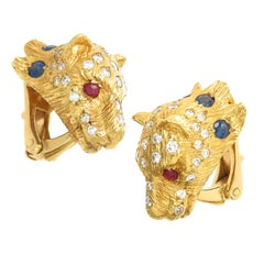 Yellow Gold and Gem Set Cougar Clip Earrings