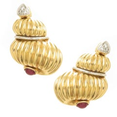 Yellow Gold and Gem Set Large Classy Shell Earrings