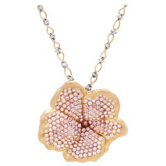Yellow Gold and Light Pink & White Diamond Flower Pendant with Chain Stambolian