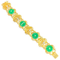 Yellow Gold and Natural Jade and Diamond Bracelet