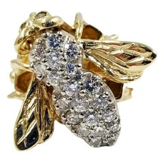 Yellow Gold and Pave Diamond Bee Ring