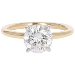 Yellow Gold and Platinum 2.08 Carat Round Brilliant Cut Diamond Engagement Ring