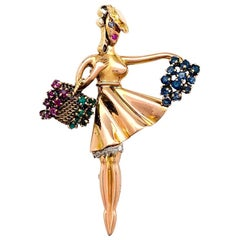 "Yellow Gold and Platinum Lacloche ""Autumn"" Brooch, Diamonds and Color Stones"