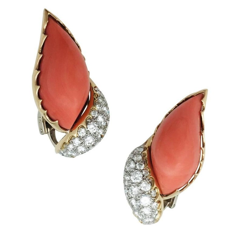 1970s M.Gérard  Paris Coral Diamond Earrings