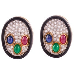 Yellow Gold and Platinum Multi Stone Earrings with Enamel