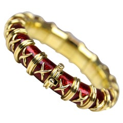 Yellow Gold and Red Enamel Schlumberger Bracelet