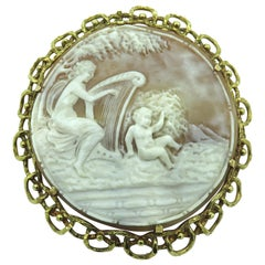 Yellow Gold and Shell Cameo Brooch