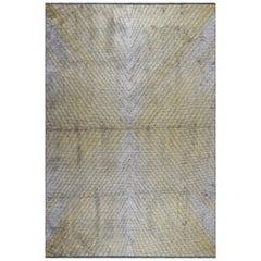 Yellow Gold and Silver Gray Contemporary Chevron Design Soft Semi-Plush Rug
