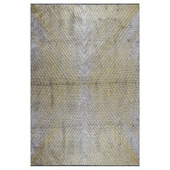 Yellow Gold and Silver Gray Contemporary Chevron  Design Soft Semi-Plush Rug