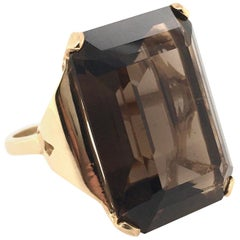 Yellow Gold and Smoky Quartz Ring
