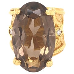 Yellow Gold and Smoky Quartz with Diamonds
