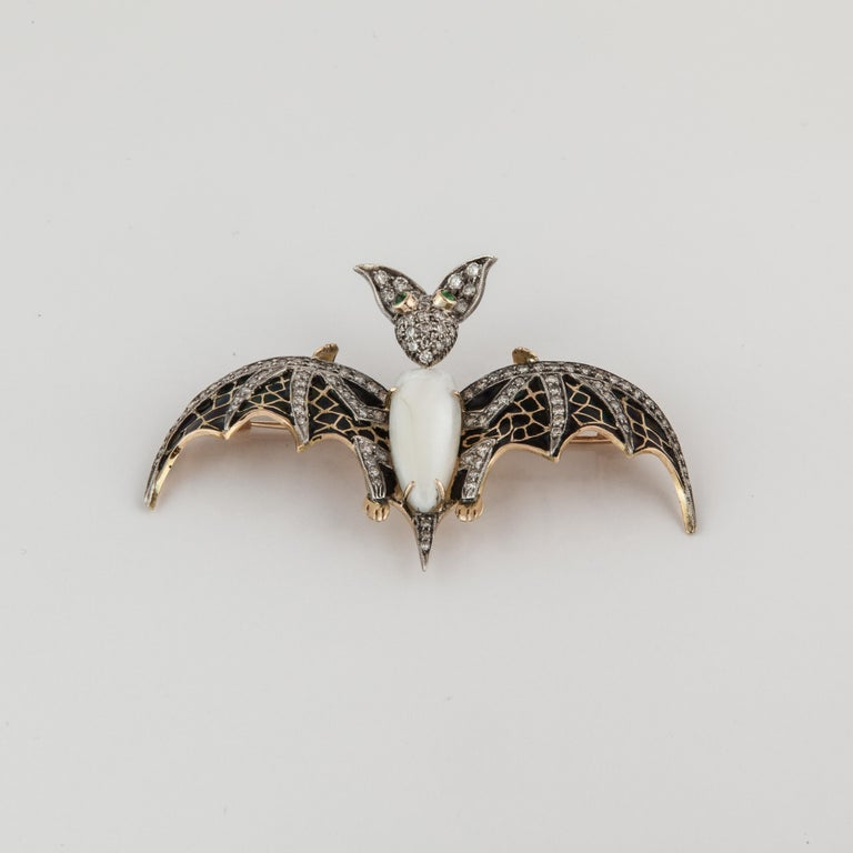 Women's or Men's Yellow Gold and Sterling Silver Bat Pin For Sale