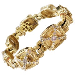 Yellow Gold and White Diamond Bracelet in 14 Karat Yellow Gold