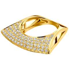 Yellow Gold and White Diamond Lotus Ring