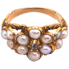 Yellow Gold Antique Cluster of Pearl Ring with Diamond