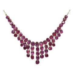 Yellow Gold Antique Pink Sapphire Necklace