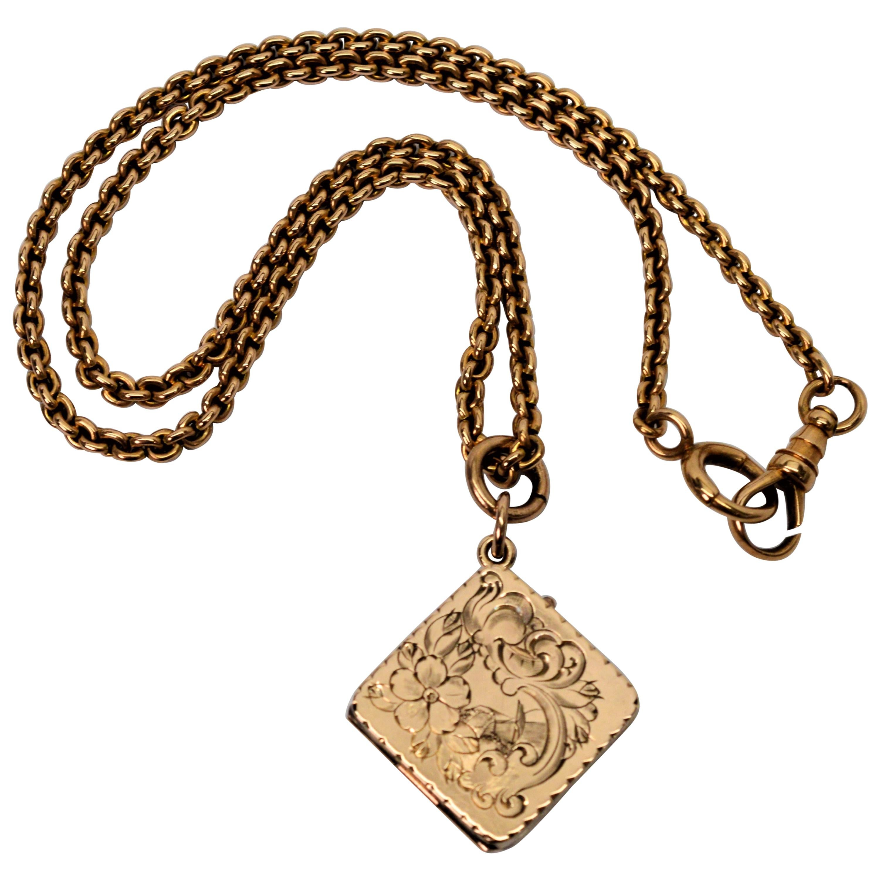 Yellow Gold Antique Watch Chain Necklace with Locket Charm Fob