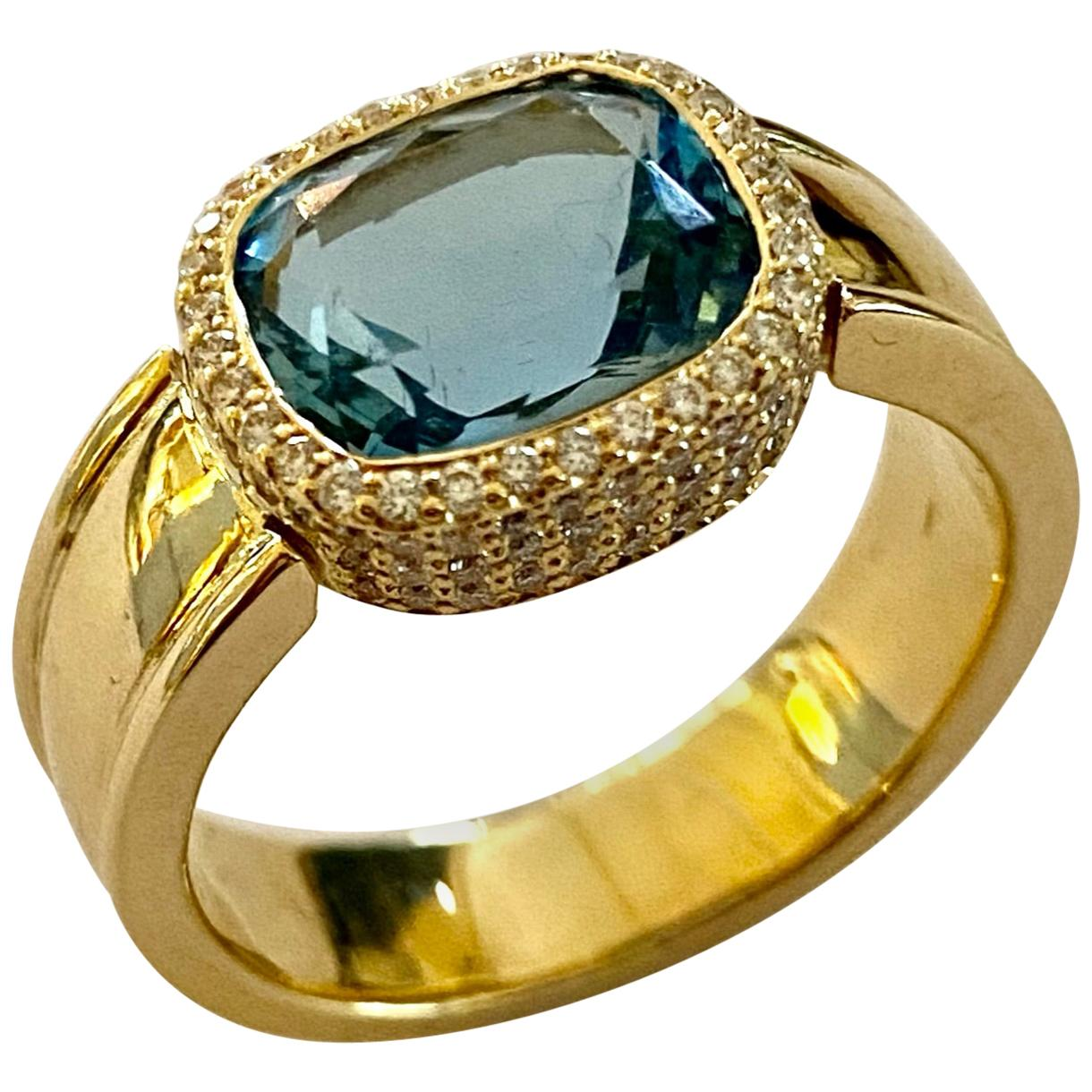 Yellow Gold Aquamarine, Diamond Ring