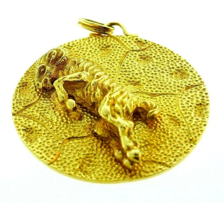 Women's or Men's Yellow Gold Aries Astrological Zodiac Pendant For Sale