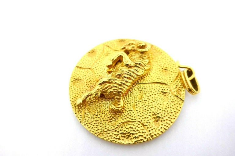 Yellow Gold Aries Astrological Zodiac Pendant For Sale 1