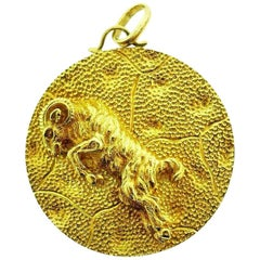 Yellow Gold Aries Astrological Zodiac Pendant