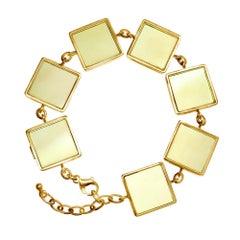 Yellow Gold Art Deco Bracelet with Big Lemon Quartzes, Featured in Vogue