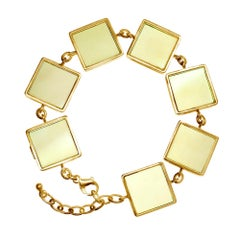 Yellow Gold Art Deco Style Bracelet with Big Lemon Quartzes, Featured in Vogue