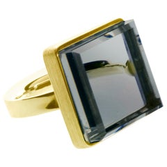 Yellow Gold Art Deco Style Ring with Chalcedony by the Artist, Featured in Vogue