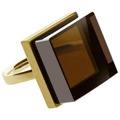 Yellow Gold Art Deco Ring with Light Smoky Quartz, Featured in Vogue