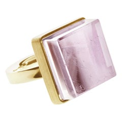Yellow Gold Art Deco Style Ring with Natural Pink Tourmaline