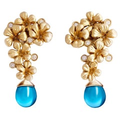 Yellow Gold Art Nouveau Blossom Earrings, 0.3 Carat Diamonds, Featured in Vogue