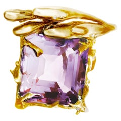 Yellow Gold Art Nouveau Blossom Ring by Artist with 20 mm Lavender Amethyst
