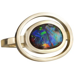 Yellow Gold Australian Black Opal Cocktail Ring