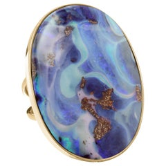 Yellow Gold Autralian Boulder Opal Cocktail Ring