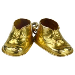 Yellow Gold Baby Boots Shoes Charm Pendant