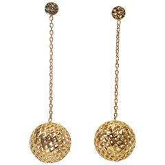 Yellow Gold Ball Dangle Drop Earrings